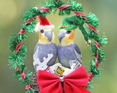 Christmas Cockatiel Santa and Elf Nest in Silver Handmade Ornament