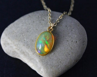 Gold Ethiopian Opal Necklace set in Solid 14K Yellow Gold - October Birthstone Necklace