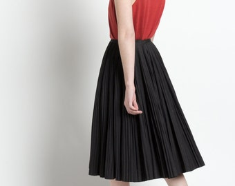 Vintage 50s Black High Waisted Pleated Full Cotton Skirt | XXS