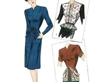 Vintage 1940's Pattern Slim Skirt Dress Peplum or Scarf Pockets 1947 Simplicity 1441 Bust 32
