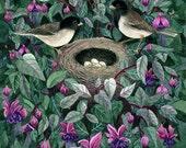 Fine Art Print of Original Watercolor Painting - Fuchsia Family