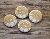 Large Custom Baby Shower Pins, Burlap and Lace, Rustic Button, Grandma Badge, Mommy to Be, Country Badges, Auntie to Be Pin, Party Favor