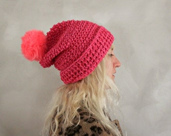 Pom Pom Beanie / Hot Pink / Womens Knit Beanie / Fur Pom Pom Beanie / Fur Pom Pom Hat/ Gift for Her/ Womens Gift/ Birthday / Gift