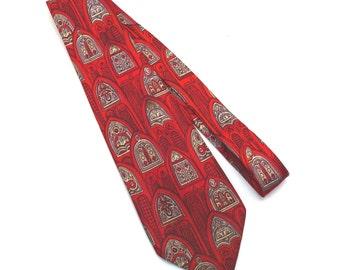Church Window Pane Vintage Tie 1940s 1950s Mens Silk Necktie