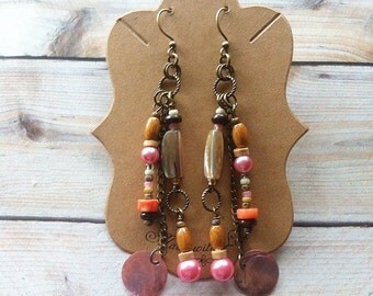 Pink Bohemian mix media Earrings, multi color, coral, pink, brass, gypsy, hippie, vintage look, chain earrings
