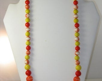 Vintage Long Mod Red, Orange and Yellow Chunky Beaded Necklace (N-3-4)