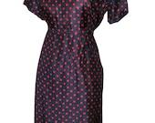 Silk Vintage 50s Lane Bryant Polka Dot Wiggle Dress XL Plus Size 44b 34w 44h Navy and Red Killer Hip Detail Rockabilly