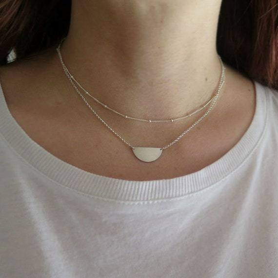 Silver double strand necklace - layered necklace in sterling silver - half circle double chain choker necklace- minimal necklace