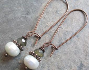 Labradorite, Freshwater Pearl & Copper Earrings - Bohemian Style Jewelry