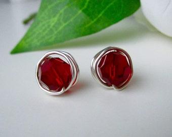 Garnet Birthstone Earrings, Garnet Crystal, January Sterling Silver Earrings, Red Crystal Stud Earrings, Minimal Jewelry, Everyday Earrings