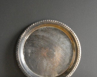 Vintage Silver Tray - Round Platter or Serving Tray - Leonard Silverplate