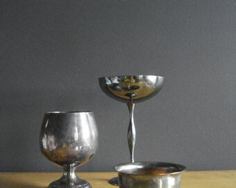 Sweet Silver Trio - Set of Three Small Silverplate Containers - Silver Bowl, Goblets - Made in Italy