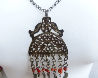 Moroccan Tunisia Berber Jewelry, Antique silver and coral pendant, silver coral chain, 19th silver coins, OOAK, Tribal Jewelry, unqiue