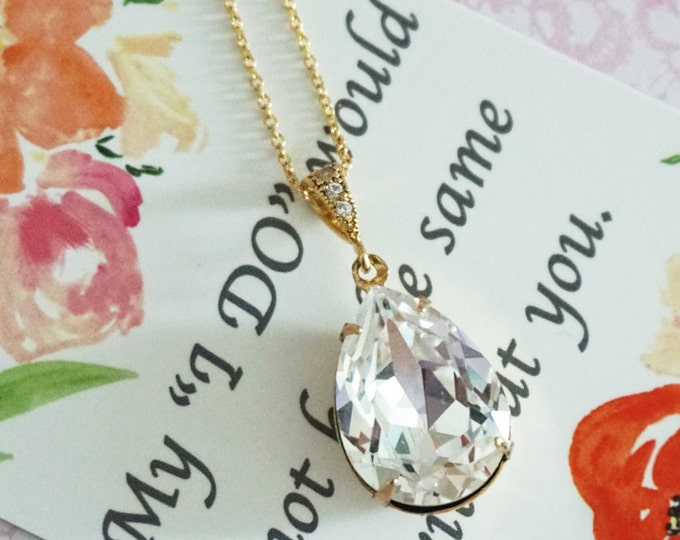 Sandra - Swarovski Clear Crystal Teardrop Necklace, Bridesmaid Bridal Wedding Jewelry, silver rose gold Champagne