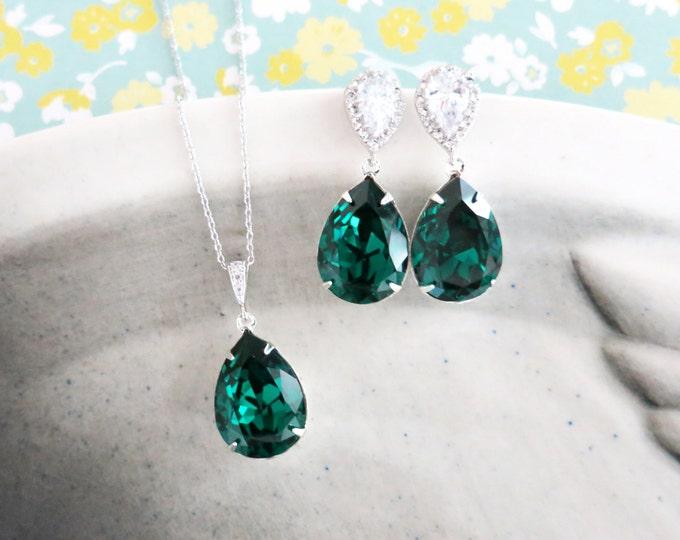 Sandra- Emerald Green Swarovski Crystal Teardrop Cubic Zirconia Teardrop Earrings Necklace Set, Bridesmaid Bridal Jewelry Wedding