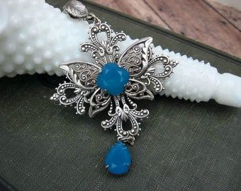 Caribbean Blue Butterfly Necklace - Victorian Inspired - Something Blue N6