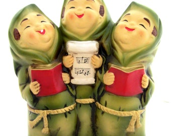 Vintage KITSCHY Christmas Musical Trio JOY To The WORLD Original Box Made in Japan 1950 1960s