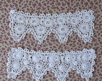 White Cotton Crochet early 1900s Cuffs - X2 Mismatched Singles - for crafts or re-use