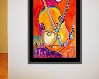 Abstract Original Oil Painting on canvas Music of Life Marlina Vera Fine Art Gallery Modern Contemporary Large artwork fauvism cello jazz