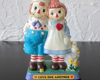 Raggedy Ann and Andy 1972 Love One Another Statue Figurine Hand Made in Japan