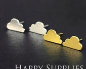 Nickel Free - High Quality Cloud Dual-used Golden / Silver / Rose Gold Brass Earring Post Finding with Ear Studs Back Stopper (ZEN027)