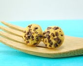 Cookie Earrings // Chocolate Chunk Cookies // Post or Clip On Earrings // MADE TO ORDER