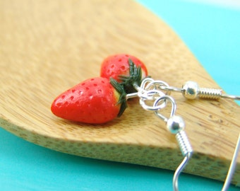 Strawberry Earrings // MADE to ORDER Food Jewelry // Berry Fruit Earrings
