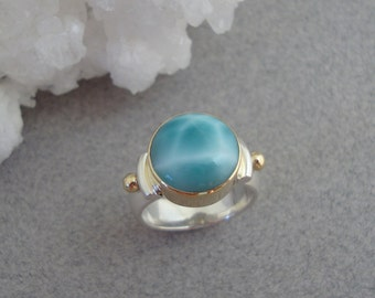 Larimar Ring in 18k Gold and Sterling, Natural Blue Stone Ring
