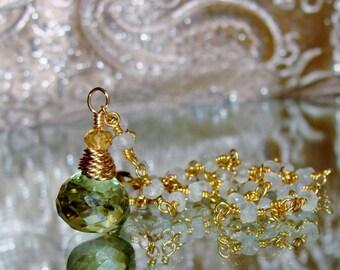 Peridot quartz onion briolette Prehnite rosary chain gemstone necklace Sacred Jewelry pamelia designs