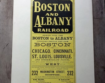 """Vintage Railroad Time Table Reproduction Poster. Boston to Albany Railroad. Old Train Timetables Poster 1970s Reproduction.  17"""" x 11"""""""