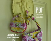TWO PDF PATTERNS - Matching Girls and Doll Purse Patterns - Pattern bundle for Tea Party 18 inch Doll Purse and matching Adelphi Girls Purse