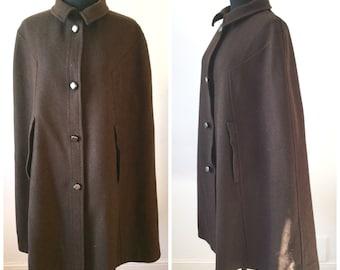 Vintage 1960s Brown Wool Cape By Palomar S M