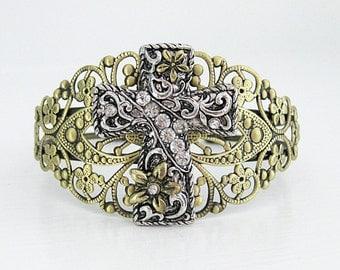 Cuff Bracelet, Crystal Bracelet, Gold Bracelet, Silver Jewelry, Christian Bracelet, Bracelet Cuff, Christian Jewelry, Religious Jewelry,B254