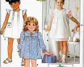 BUTTERICK 6595 UNCUT Size 5 Cabbage Patch Kids Vintage 1980's Ruffled Pintucked Puff Sleeved Easter Christmas Holiday Dress Pattern