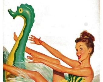 vintage mid century retro pinup at the beach illustration digital download