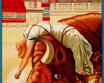 antique victorian movie poster Lygia bound to the wild bull illustration digital download