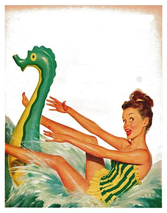 vintage mid century retro pinup at the beach illustration