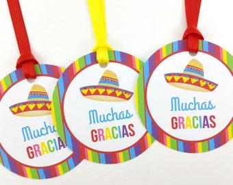 Fiesta Favor Tags, Fiesta Birthday Favor Tags, Fiesta Tags, Fiesta Decorations - SET OF 12