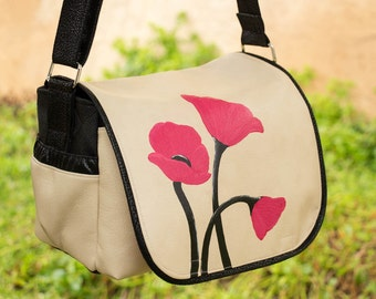 Hand Painted Poppies Messenger style DSLR Bag with removable inserts