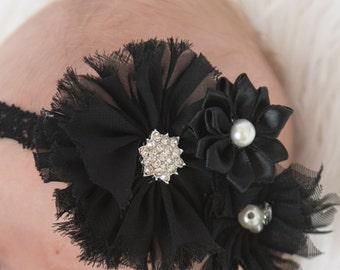 Black elastic headband, Black Chiffon Flower, baby headband, toddler headband, baby shower gift, boho headband, black headband, black flower