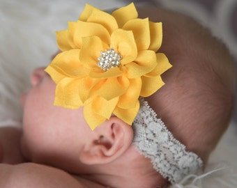 yellow headband, grey elastic headband, yellow flower headband, baby headband, baby shower gift, flower girl headband, bridal headband,