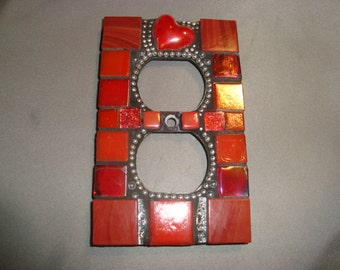 MOSAIC Electrical Outlet Cover,  Plug, Home Decor, Wall Plate, Red Heart