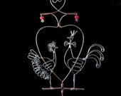 "Wire Wedding Cake Topper ""A Hen and A Rooster"