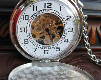 Silver Pocket Watch and Pocket Watch Chain, Mechanical Watch,  Groomsmen Gift - Item MPW785