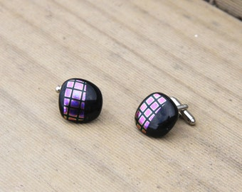Fused Glass Cuff-links - Black with Dichroic