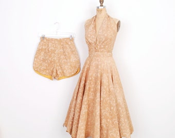 Vintage 1950s Dress / 50s Three Piece Cotton Top, Skirt, and Shorts Set / Beige Floral (small S)