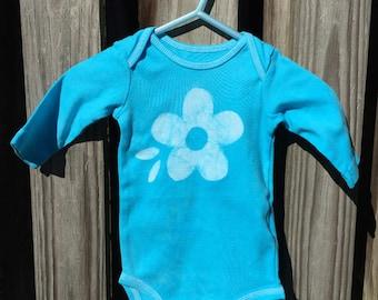 Blue Flower Bodysuit (3 months), Girls Flower Bodysuit, Light Blue Baby Gift, Baby Girl Gift, Baby Shower Gift, Turquoise Flower Bodysuit