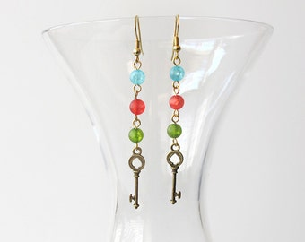 Key Dangle Earrings  Alice in Wonderland Blue Green Red