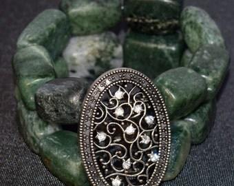 Green Stone cuff bracelet