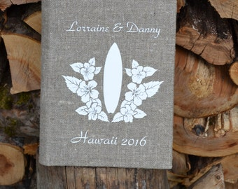 SALE ~ 15% Personalized linen photo album, Rustic wedding photo album, Burlap photo Album Family photo album